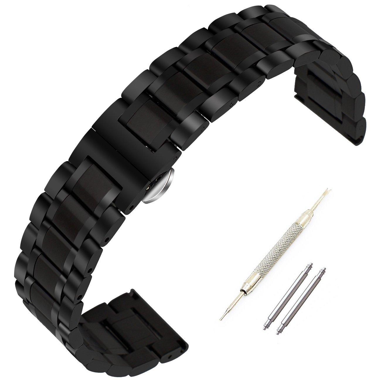 ブラックスチールバンドゴールドスチールストラップfor Pebble Time Steel、クラシック、G Watch [ 16 mm、18 mm、20 mm、22 mm、24 mm ] 24mm ブラック 24mm|ブラック ブラック 24mm B0728KTTH4