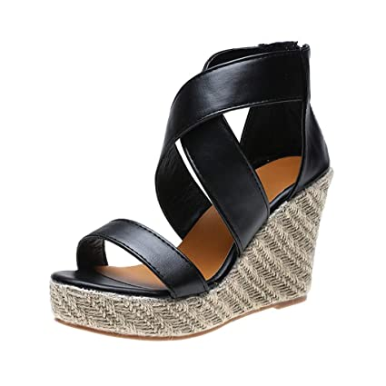 f07209f04665e Amazon.com: ❤ Mealeaf ❤ Womens Open Toe Wedges Thick Bottom ...