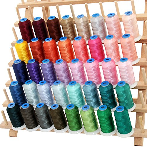 Embroidery Wt Rayon Thread 40 (40 Cone Rayon Embroidery Thread Set - Set C Vivid Colors - 1000m Cones - Threadart)