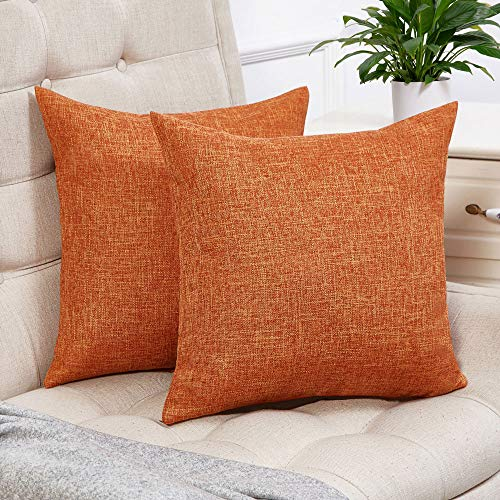 Anickal Set of 2 Orange Pillow Covers Cotton Linen Decorative Square Throw Pillow Covers 16x16 Inch for Sofa Couch Decoration ()