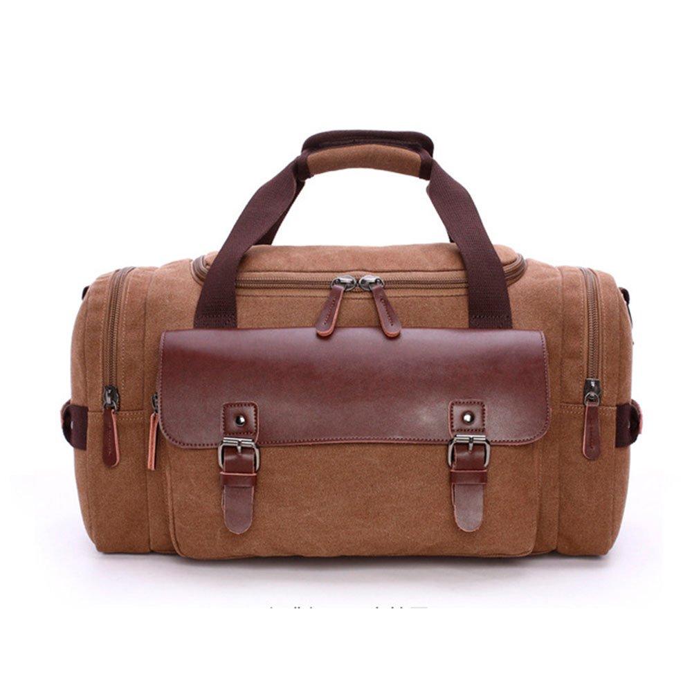 耐久性のある キャンバストラベルバッグソリッドカラー大容量ステッチレザーの男性と女性のアウトドアトラベルバッグ (色 : 褐色)  褐色 B07PFZN892