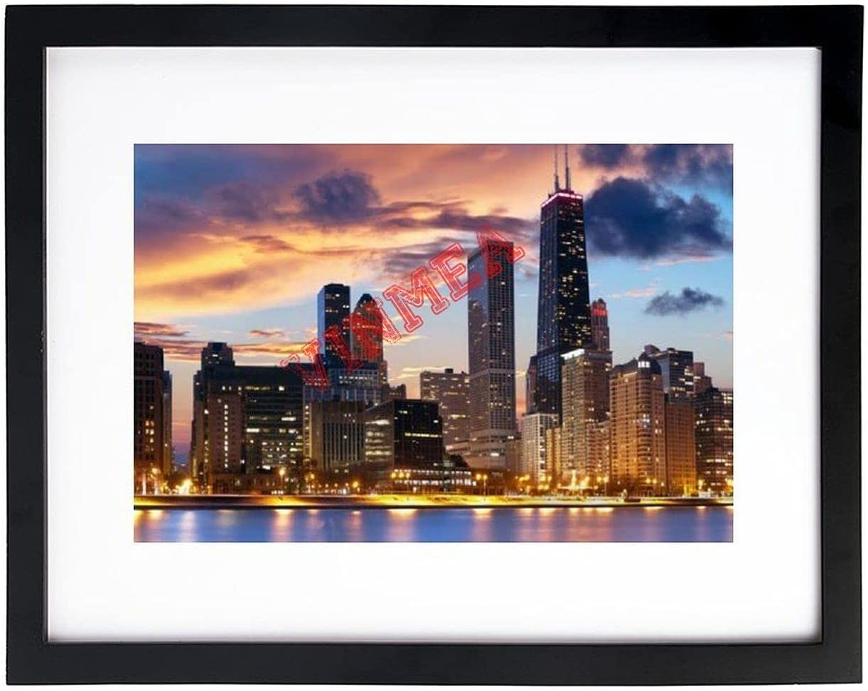 Art Print Wall Cities in Illinois, U.S. Black and White Picture Frames with High Definition Glass,Home/Office Wall Art Decor Wooden Frames 8x12 Inches
