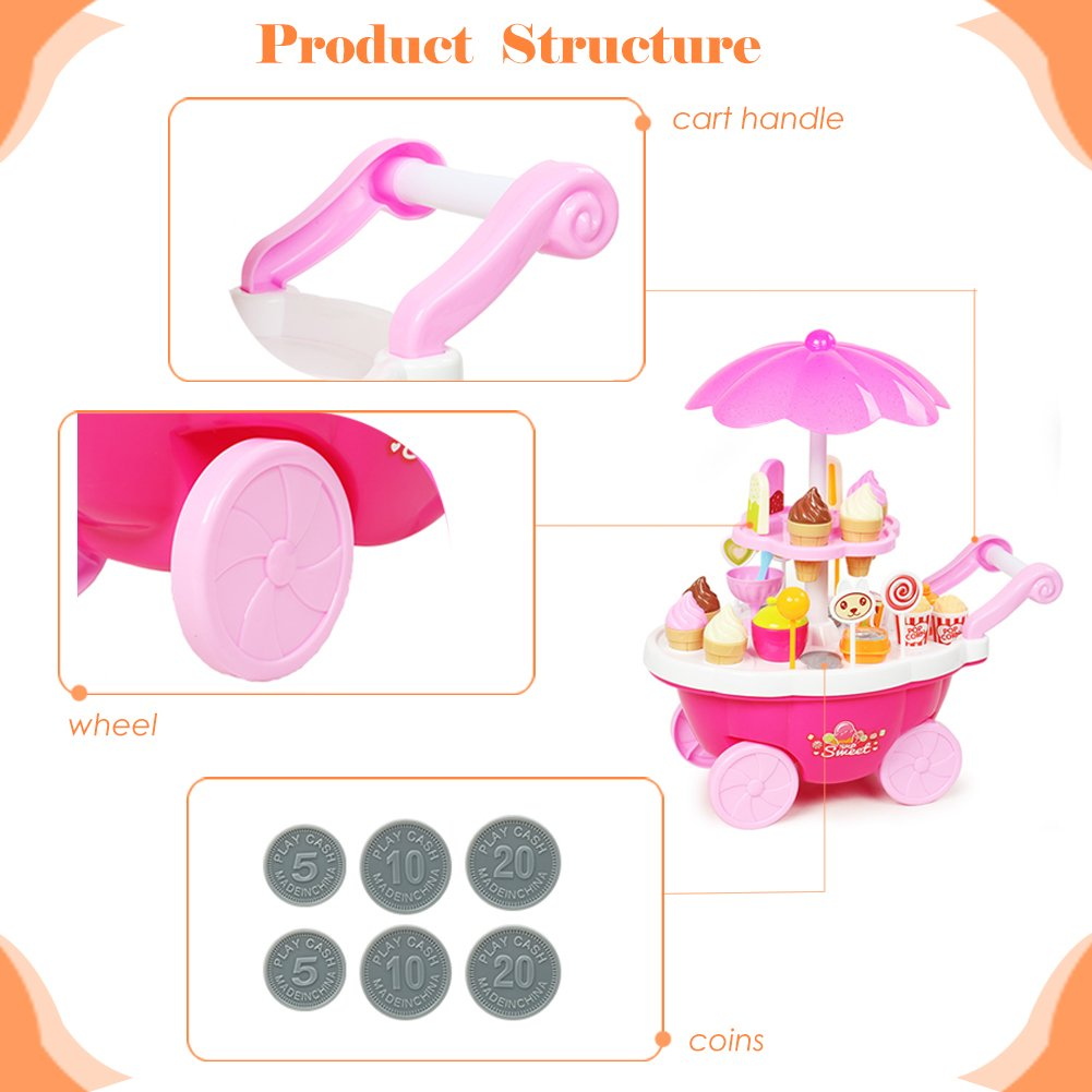 Buyger 39pcs Carrito de Helados Juguetes Alimentos Postres Comida Juego Educativo para niño (Rosa): Amazon.es: Juguetes y juegos