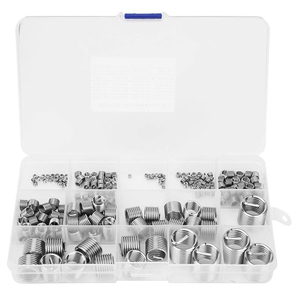 205 Pcs/Set Wire Screw Sleeve Stainless Steel Wire Thread Inserts Thread Repair Insert Kit Tool Set M5 x 0.8 x 2D by Hilitand
