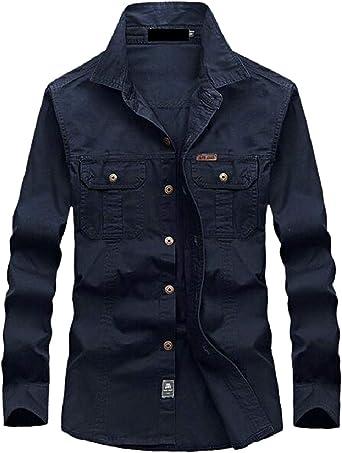 OTW Men Cotton Casual Corduroy Solid Color Long Sleeve Button Up Dress Shirts