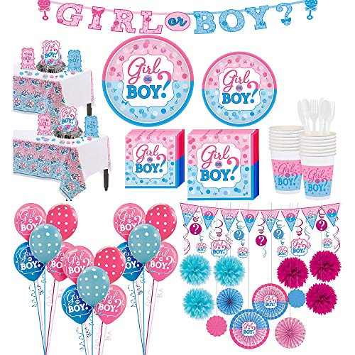 Party City Girl or Boy Premium Gender Reveal Party Kit for 32 Guests, Includes Table Covers, Balloons and Banners]()