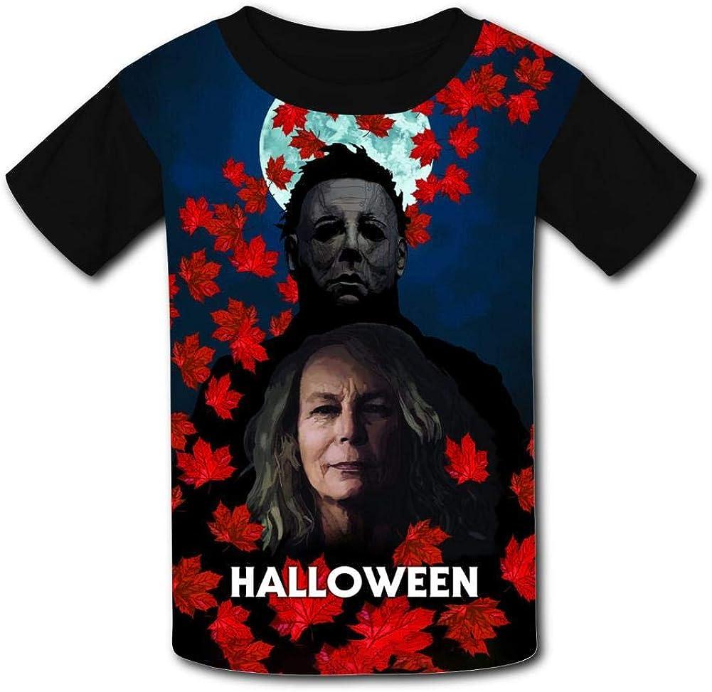 MOEYBOR Mi-Chael-Myers Halloween in Fall T-Shirts,Novelty Short Sleeves Tee for Kids//Teen//Boys//Girls