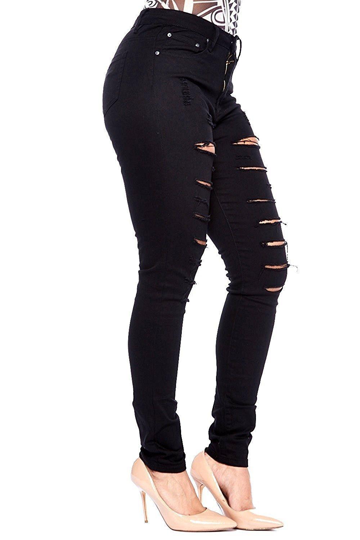 Juniors Women's Plus Size Blue/Black Denim Jeans Skinny Ripped Distressed Pants (24, Black)