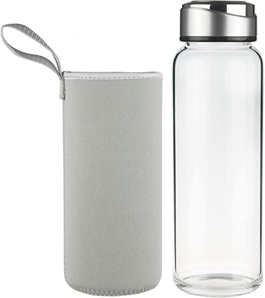 Splash Sports Glass Water Bottle with Sleeve and Stainless Steel Cap..New 21 oz