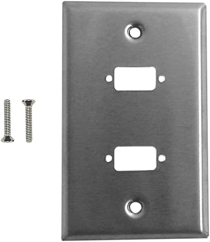Distributed By MCM Stainless Steel Hdmi Single Gang Wall Plate with Headphones