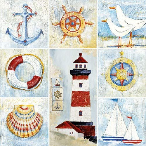3-ply Seaside Pack of 4 Individual Napkins 33 x 33cm 4 Paper Napkins for Decoupage