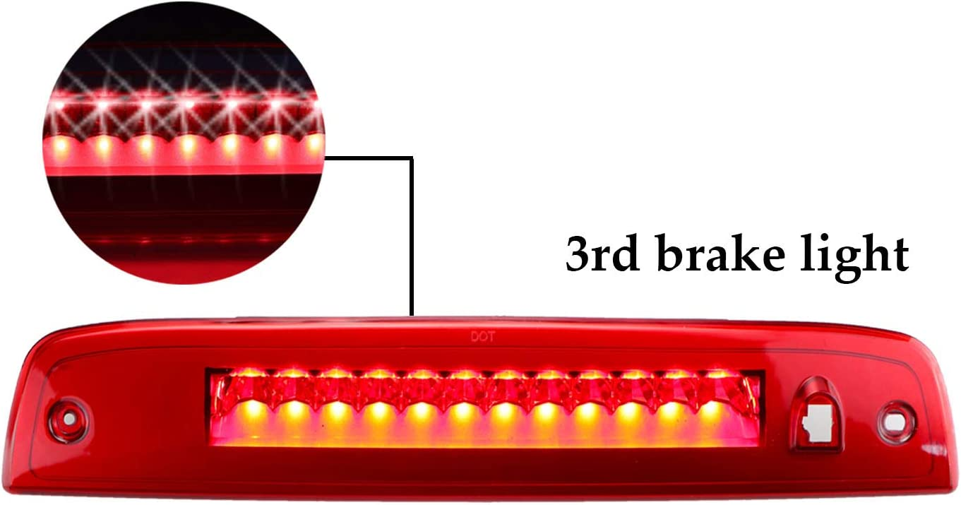 Chrome Housing Smoke Lens Rear Roof Center High Mount Stop Tail Light Replacement for 2003-2016 Ford Expedition 2003-2016 Lincoln Navigator LED Third 3rd Brake Cargo Light Assembly
