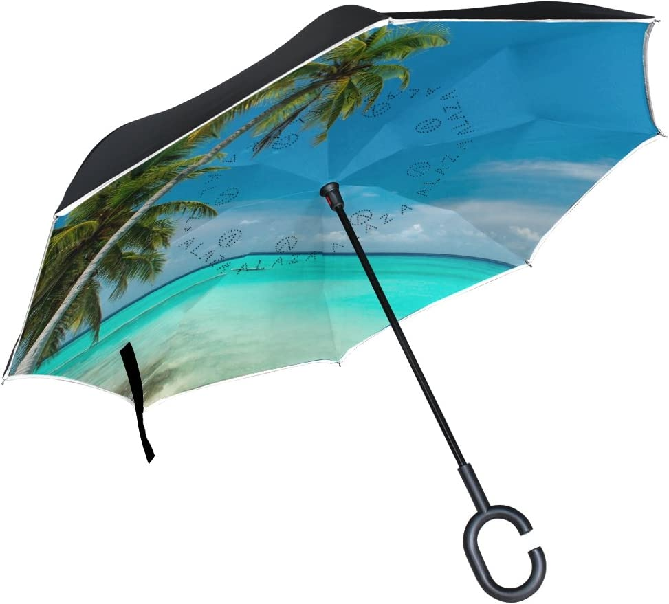 Sailboat Bends Down to Sea Double Layer Inverted Reverse Windproof Folding Umbrellas for Car Outdoor with C-Shaped Handle 42.5x31.5Inch
