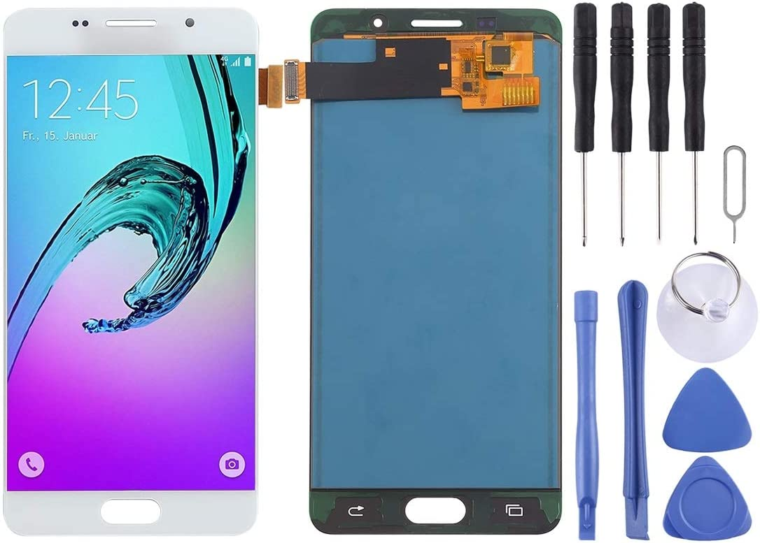LIYUNSHU LCD Screen and Digitizer Full Assembly for Galaxy A5 Black 2016 Color : White TFT Material // A510