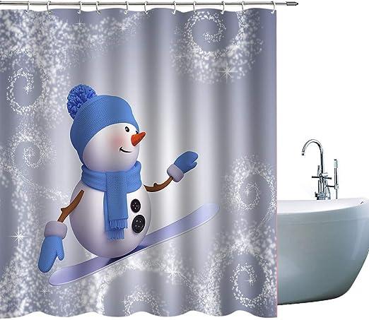 Christmas snowflake Shower Curtain Home Bathroom Decor Fabric /& 12hooks 71x71in