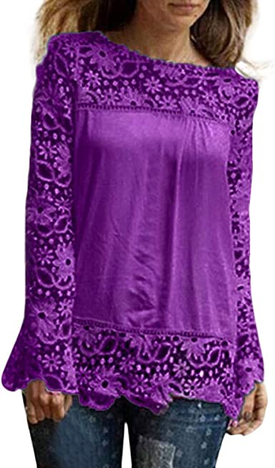 Lonshell Moda De Las Mujeres Manga Larga Camisa Tops Casual Encaje Blusa Suelto Más Tamaño Algodón Blusa Assorted-Color Camiseta: Amazon.es: Ropa y accesorios