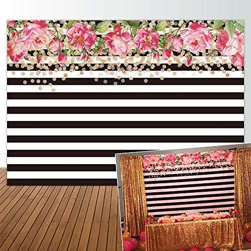 Allenjoy 7x5ft Watercolor Pink Rose Floral Black and White Stripe Backdrop for Birthday Party Bridal Baby Shower Wedding Decor Decorations Photography Pictures Photo Studio Booth Shoot Background