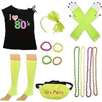 foci cozi 80s Costume Women and Accessories Set Fanny Pack Bangle Headband Leg