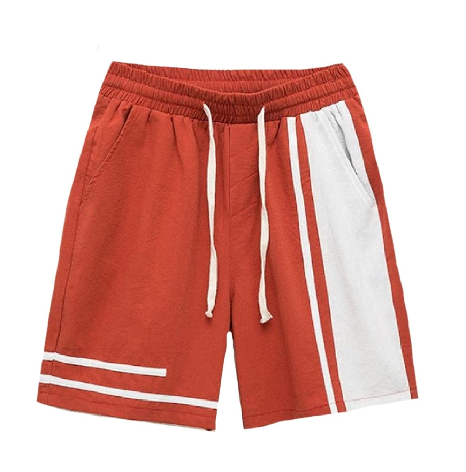 026ccbbcb2 Abetteric Mens Beach Leisure Elastic-Waist Straight Pants Lace-up Fitted  Baggy Comfy Spell
