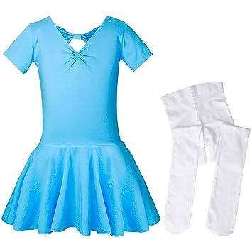 SANMIO Mädchen Ballettkleid+Ballett-Strümpfe Kinder Ballettanzug Tütü Ballett Trikot Turnanzug Kurzarm Ballettkleid mit Röckc