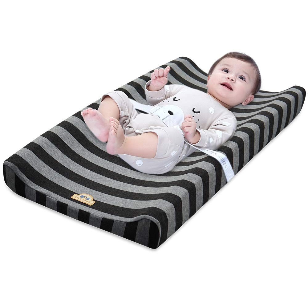 Unisex Diaper Change Table Sheets for Baby,Comfortable Cozy Cradle Sheets BlueSnail Ultra Soft Strechy Changing Pad Cover Dark Gray+Heather Grey