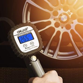 Exwell Manometro Presion Neumaticos, 150 PSI Manómetro Digital, Medidor de Presión de Neumáticos con Manguera y Acoplador para Motocicleta, ...