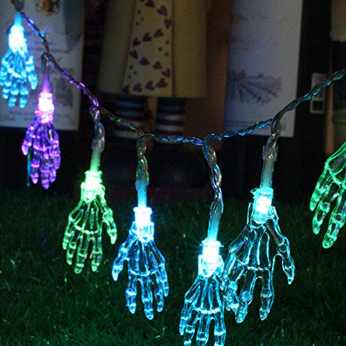 Commercial Halloween Decorations (Halloween Decoration Skeleton Hand Lights 10 LED Ghost Sting Lights for Holiday Decoration Indoor String Lights Home Decoration)