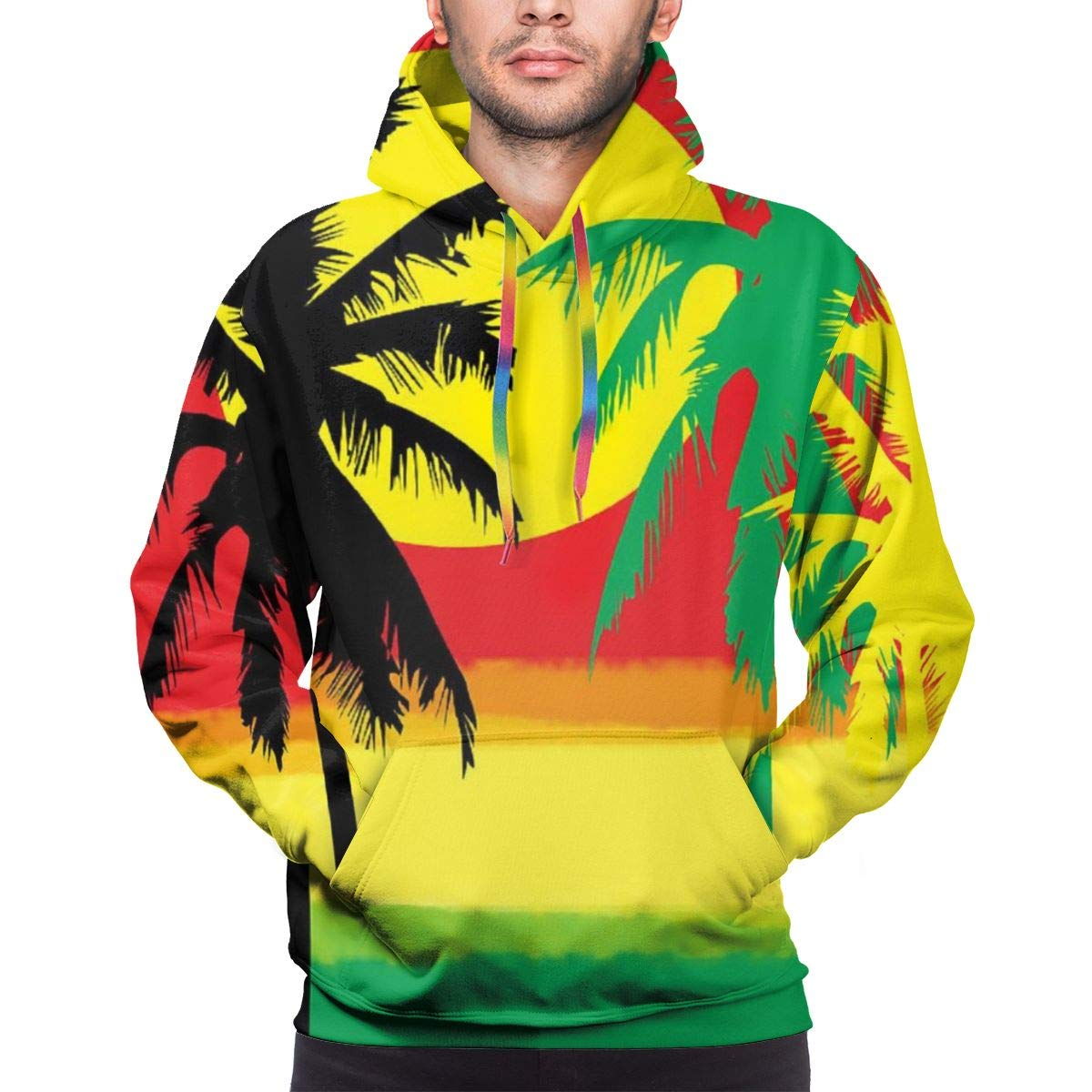 MAYUES Grill Tree Island Sunset Men's Hoodie Transfer Printing Men's Athletic Hoodies Daily Wearing for School Office S by MAYUES