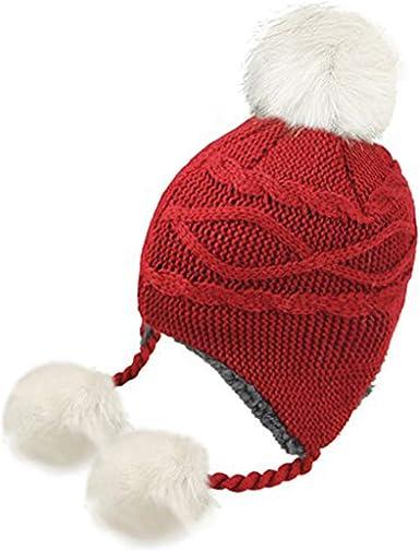 Kids Winter Hat Thick Knitted Warm Wooly Pom Bobble Ski Cute Boys Girls Child UK