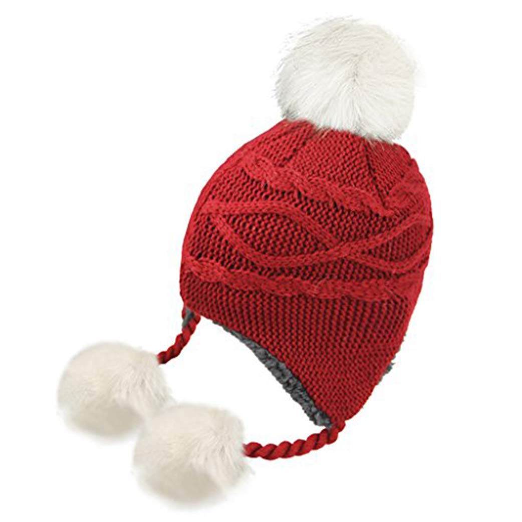 Kids Toddlers Warm Beanie Hat with Ear Flap Girls Boys Winter Knitted Fleece Hats Cute Thick Windproof Bobble Pom Pom Crochet Cap Skiing Snowboard Outdoors Head Wear Protection Gift for Children 2-10