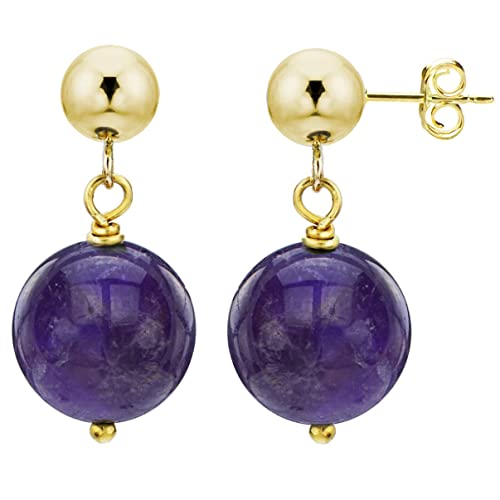 14k Yellow Gold with 10mm Simulated Purple Amethyst Stud Dangle Earrings