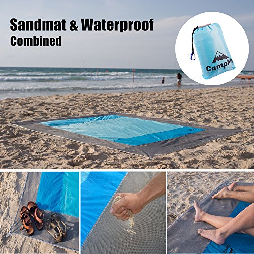 PREMIUM Outdoor Beach Blanket Sand Free/Picnic Blanket Waterproof And Sand Mat Combined - large Sand Proof, Fast Dry, Strong Nylon, 7.2' X 6.6', 4 Metal Stacks