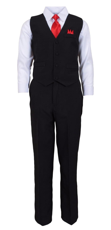 Vittorino Boys 4 Piece Tuxedo Suit Set with Vest, Shirt, Tie, Pants & Handkerchief Black/White Red Bow Tie)