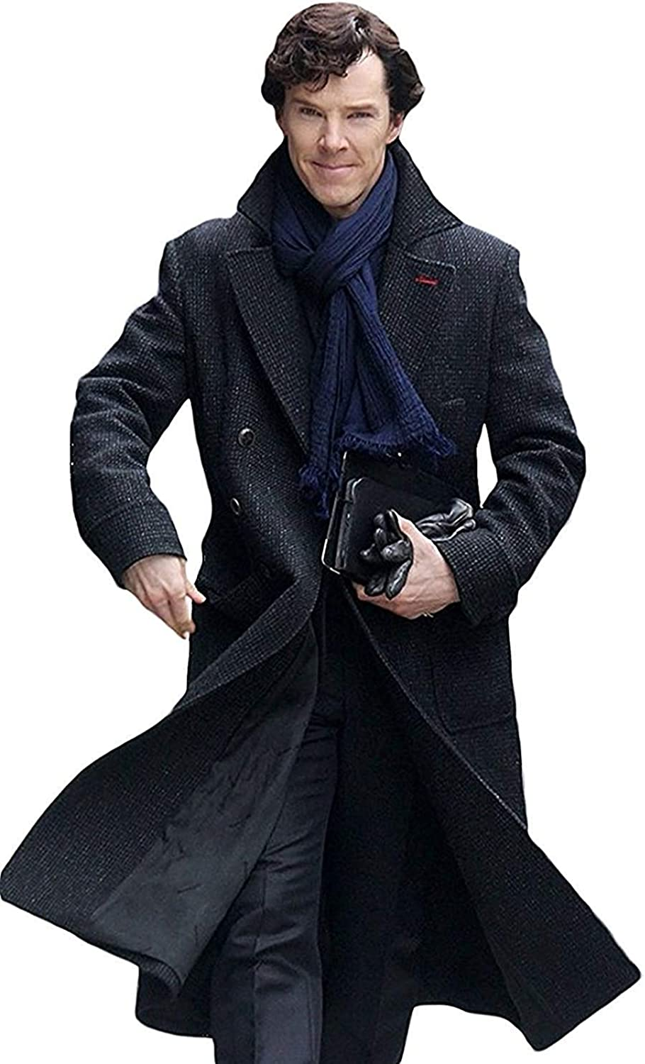 Sherlock Holmes Benedict Cumberbatch Charcoal Grey Black Wool Long Trench Coat Jacket