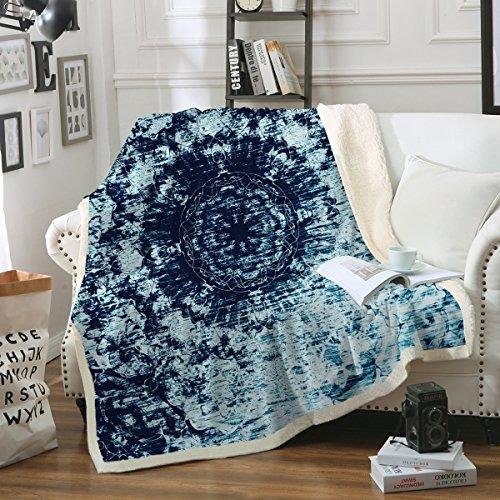 "Price comparison product image Sleepwish Blue Tie Dye Blanket Sherpa Fleece Blanket Indigo Blanket Super Soft Boho Mandala Blanket Machine Washable 50""x60"""