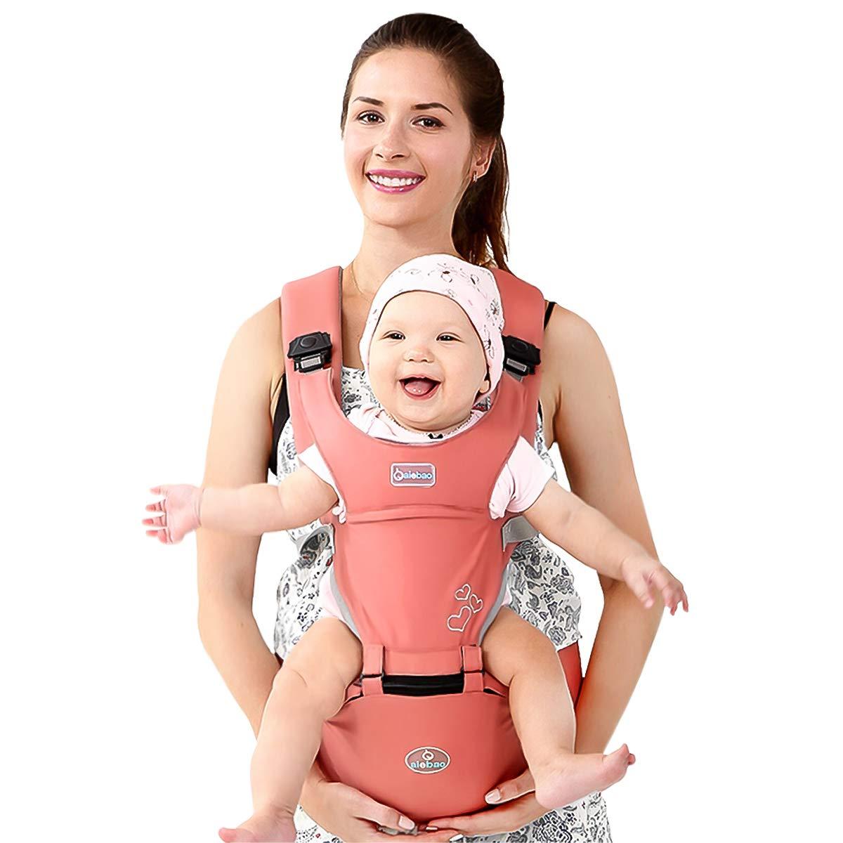 SONARIN Front Premium Hipseat Porte-b/éb/é Baby Carrier,Multifonctionnel 6 positions de transport Boucle Rotative /à Papillon Ergonomique,100/% Coton Rose S/ûr et Confortable,cadeau id/éal