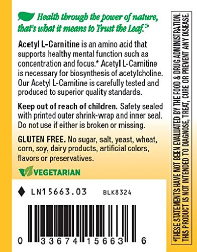 Nature's Way Acetyl L Carnitine, 60 Vcaps