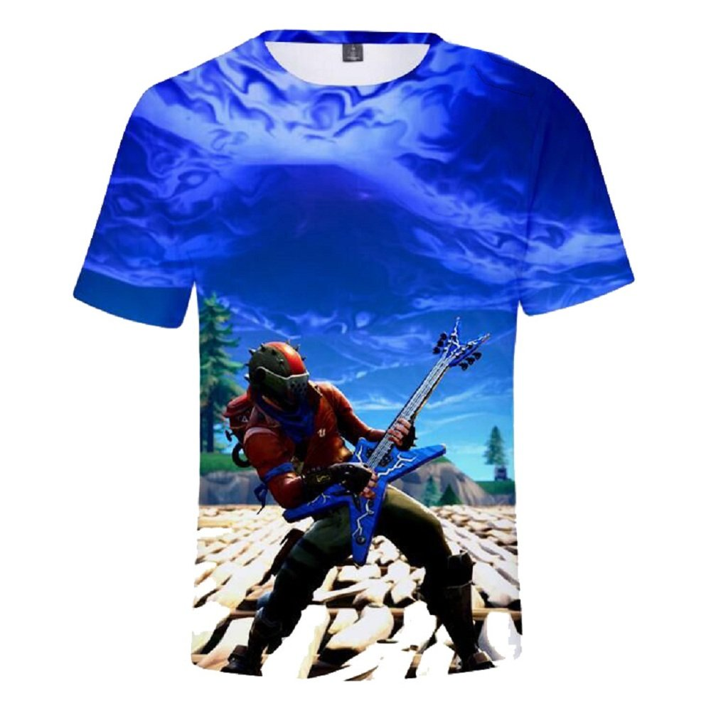 jucklove Fortnite T-Shirts 3D Print of Men Breathable Summer Short Sleeve Shirts Undershirt Fitness Tops as The picture6a L