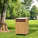 Peach Tree Wooden Outdoor Garden Horizontal Refuse Storage Shed Trash Can Waterproof Decay Resistant