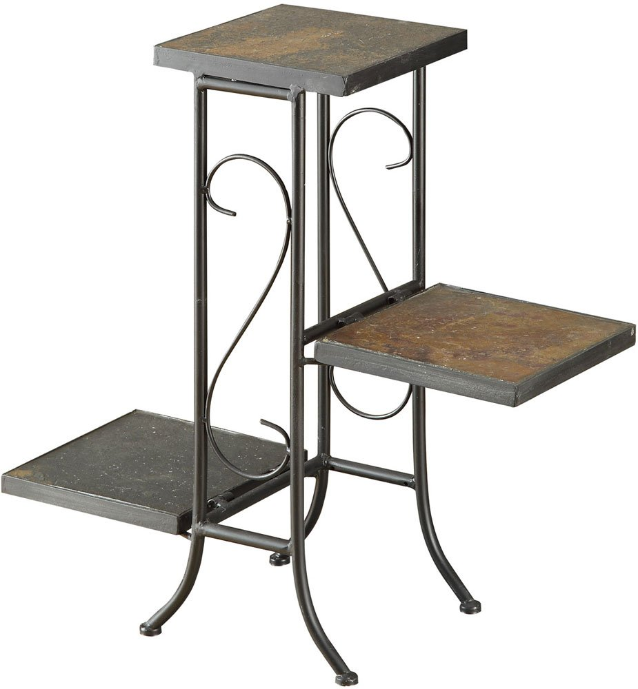 4d Concepts 3 Tier Plant Stand With Slate Top Metal Slate