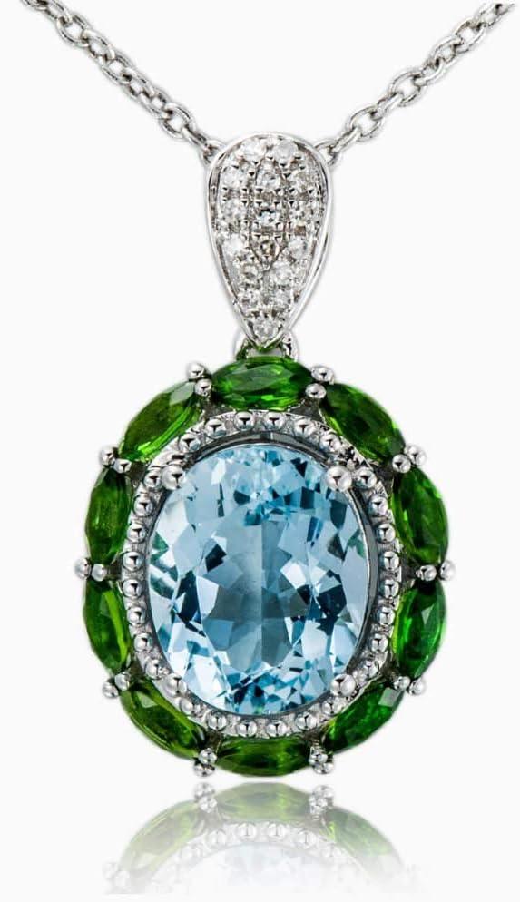 Diamantes de Piedras Preciosas joyería del Oro sólido Blanco 18K Genuino 2.53ct Aguamarina Colgante de Piedra Fina joyería para el cumpleaños de Marzo