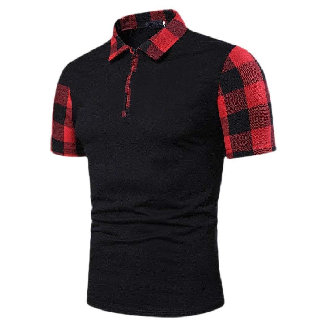 RDHOPE-Men Plaid Polo-Collar Polo Shirt Short Sleeve Skinny Contrast Tops
