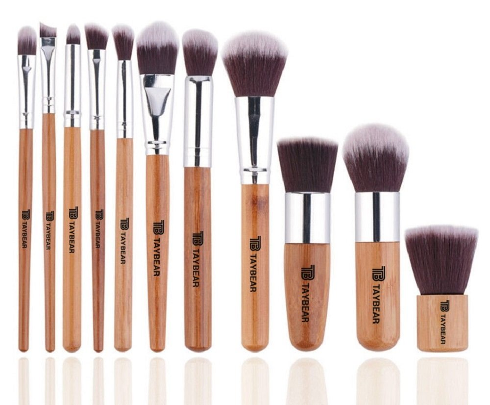 TayBear Makeup Brushes Set of 11- Professional Bamboo Handle-Premium Synthetic Hair Blending Blush Concealer Plus Storage Bag- Eco Friendly