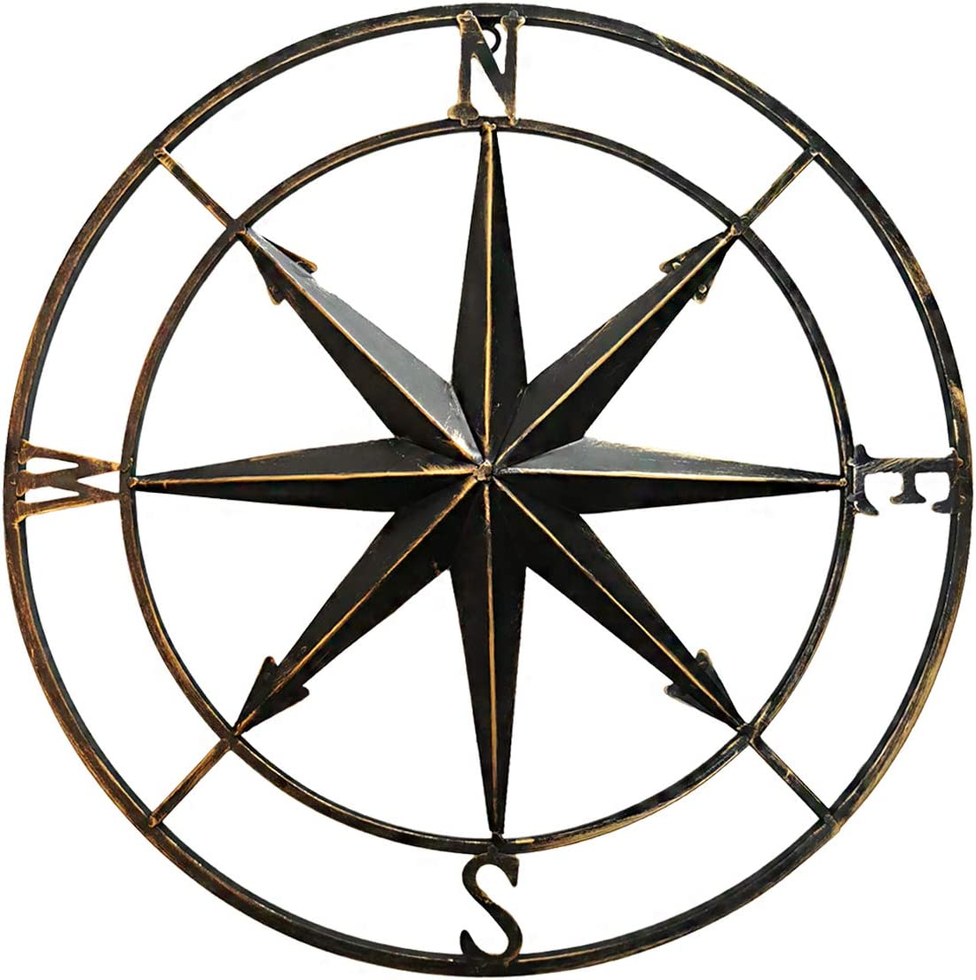 Decorative Round Metal Compass Wall Décor,Home Art for Outdoor/Indoor/Garege (Gold-Black)