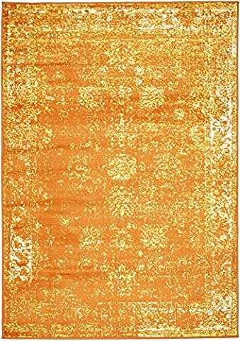 Orange 4' x 6' FT Canterbury Rug Modern Traditional Vintage Inspired Overdyed Area Rugs (Kids Orange Rug)