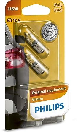Philips 12036B2 Vision - Bombilla H6W para luces de estacionamiento lateral y luces de posición (2 unidades): Amazon.es: Coche y moto