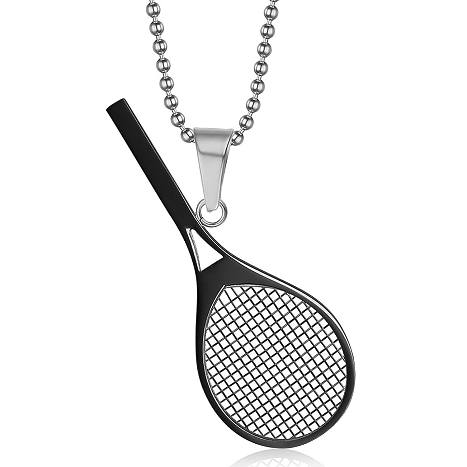 Meyiert jewelry stainless steel tennis racket shape pendant necklace meyiert jewelry stainless steel tennis racket shape pendant necklace perfect gift for him or her black amazon mozeypictures Image collections