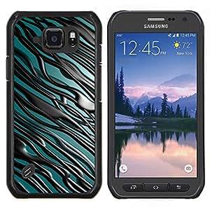 """For Samsung Galaxy S6 active / SM-G890 , S-type Líneas negras"""" - Arte & diseño plástico duro Fundas Cover Cubre Hard Case Cover"""