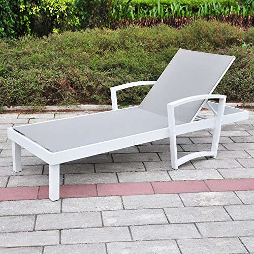 Babylon Outdoor Patio Reclining Chaise Lounge Chair, Adjustable Textline Lounger Furniture with Rust-Resistant Aluminum Frame, (Aluminum)