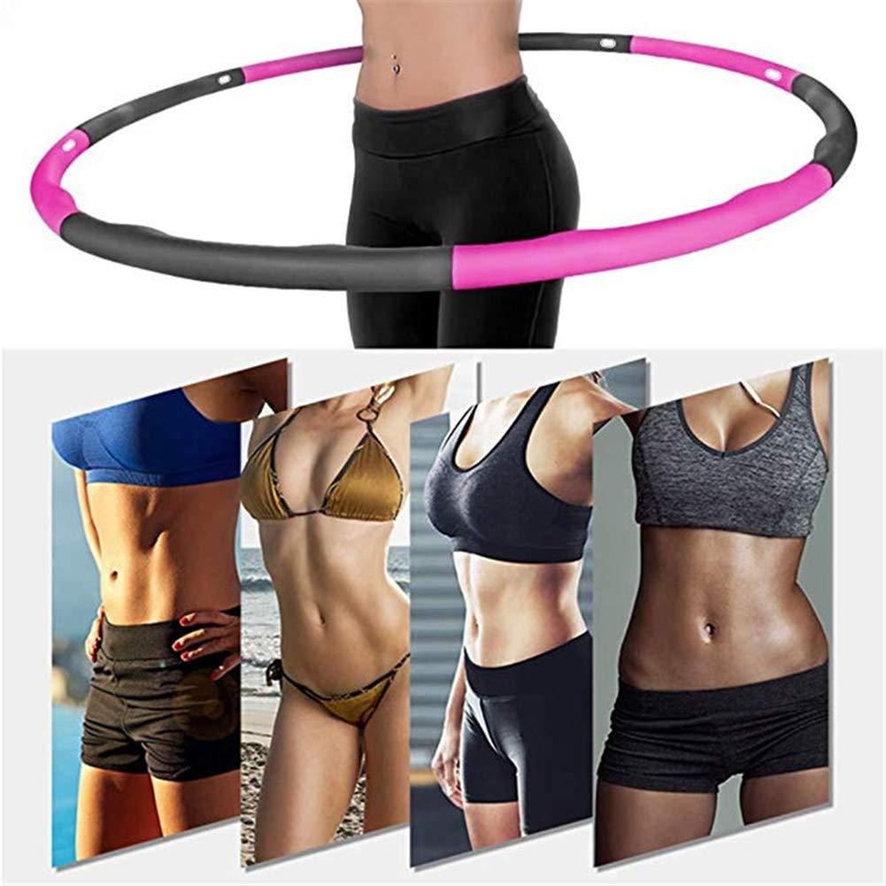 Aoweika Hula Hoop Fitness Peso Aro de Fitness Desmontable con Espuma Ancho Ajustable para Adultos con Regla de Cintura Randam 26.8-34.6in